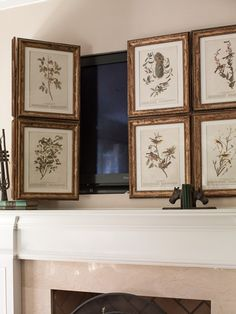 Hide away the tv behind hinged folding frames. Small Room Design Love it! Hide away the tv behind hinged folding frames. Small Room Design was last modified: February… Tv Escondida, Deco Tv, Tv Covers, Old Picture Frames, Old Pictures, Family Room, Family Pics, Flat Screen, Wall Decor