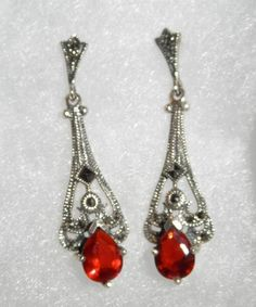 Beautiful MARSALA Mfg Sterling Marcasite & Ruby Red Crystal Dangle Earrings USA #MarsalaMfgCo