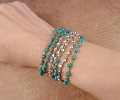 turquoise and silver beaded crochet wrap bracelet