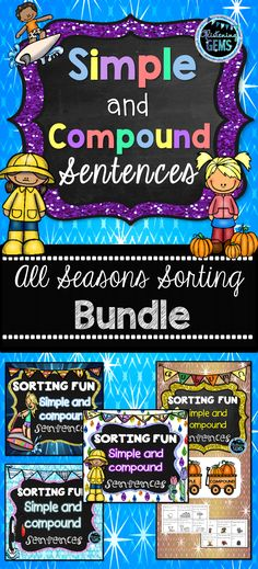 Simple and Compound Sentences Sorting Centers for all seasons of the year! This fun and interactive simple and compound sentences activities is for first, second or third grade. Simple and compound sentences anchor charts are also included! Sentence Anchor Chart, Anchor Charts, Teacher Resources, Classroom Resources, Writing Resources, Learning Resources, Simple And Compound Sentences, Parent Board, 2nd Grade Classroom