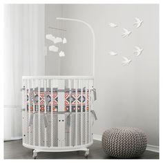 Stokke Mini crib aztec print. Neutral & Gray. Modern & clean. Ubber chic nursery. Learn more lublini.com #stokke