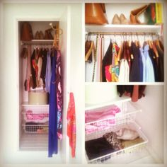 Pimped my wardrobe by painting it all white and adding Ikea algot baskets