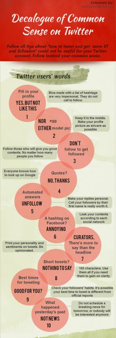 Infographic: Decalogue of Common Sense on Twitter