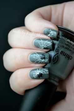 Nails by Kayla Shevonne: Halloween Nail Art - Stamped Spiderwebs