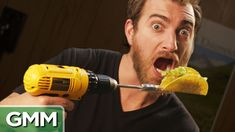 Eating A Spinning Taco Good Mythical Morning, Spinning, Youtubers, Drill, Weird, Tacos, The Creator, Beast, Funny Stuff