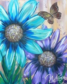 Easy Canvas Painting, Painting & Drawing, Watercolor Paintings, Canvas Art, Canvas Paintings, Daisy Painting, Canvas Ideas, Butterfly Acrylic Painting, Painting Flowers