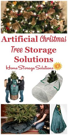 Here are ideas and tips for artifical Christmas tree storage in your home, taking into account how large these trees are, and how hard they are to take down and put up each season on Home Storage Solutions 101 Christmas Tree Storage, Holiday Storage, Cool Christmas Trees, Christmas Decorations, Christmas Ideas, Holiday Decorating, Christmas Recipes, Holiday Ideas, Christmas Holidays