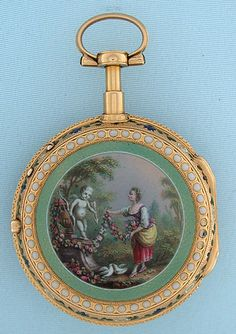 French 18K gold and painted enamel verge and fusee antique pocket watch by Marchand, Paris, circa 1800. The back beautifully enameled with a scene of an offering in a garden; insignificant losses to the decorative border. White enamel dial with restoration at the winding hole and fancy gold hands. The movement with large pierced and engraved balance cock.