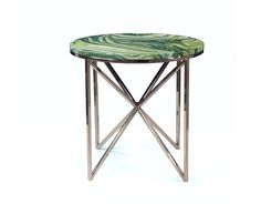 ALDEN PARKES -  Graffiti Accent Table           .      ACTB-GRAFF   . .     Hues of green swirled in highly polished acrylic on a polished stainless steel base are the features of this modern accent table. ACTB-GRAFF