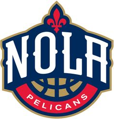 New Orleans Pelicans Alternate Logo (2014) - NOLA in white above a basketball and below a fleur-de-lis