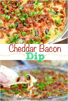 Warm Bacon Cheddar Dip recipe from The Country Cook. Can also be served cold. Layers of creamy, gooey cheese and salsa and bacon. This one gets eaten up quick!