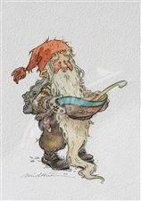 Nisse med grøtbolle  (Gnome with porridge bowl) - Kjell Midthun