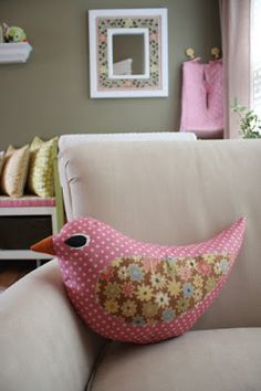 birdies pillow for Marin's nest--this matches up to the bird mobile that she has also posted and I have started