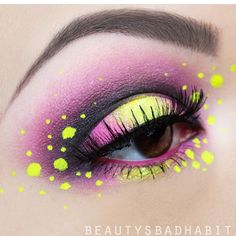 This is so beautiful and comes from the talented Beautys Bad Habit in which she uses Stargazer Neon Yellow Eyeliner. Eye Makeup Art, Colorful Eye Makeup, Eyeshadow Makeup, Fairy Makeup, Bright Makeup, Makeup Eyebrows, Eyeshadows, Makeup Goals, Makeup Inspo