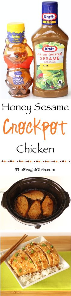 Crockpot Honey Sesame Chicken Recipe! ~ from TheFrugalGirls.com ~ just a few simple ingredients and you've got a delicious Asian Slow Cooker dinner bursting with flavor... serve over rice!