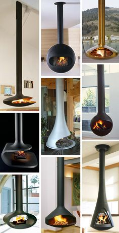 Wood burner hanging from ceiling in garden room. Perfect for Summer nights or… Hanging Fireplace, Mounted Fireplace, Suspended Fireplace, Floating Fireplace, Modern Fireplace, Fireplace Design, Craftsman Fireplace, Tile Fireplace, Fireplace Ideas