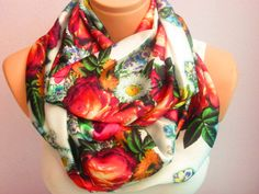 Roses Pattern On White Backgraund Infinity Scarf,Shawl Circle Scarf,Loop scarf,Gift Idea,Women Scarf,Scarves