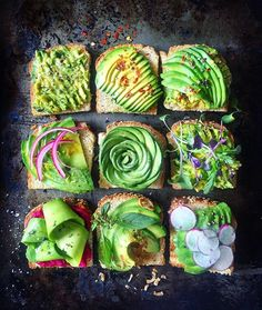 Avocado toast 9 ways: mashed with oo/s/p + sliced with crushed red pepper + avo on avo + pickled onions lemon juice and zest + avorose + micro sprouts + shaved avo ribbons on beet hummus + Thai basil lime juice and zest fried shallots + sliced plum radishes