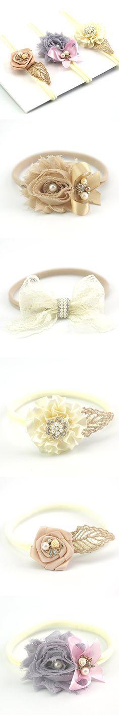 Lovemyangel 3 PACK Set Newborn Baby Girl Hair Bows with Soft Nylon Headbands (IVORY)