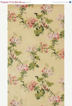 Delecate Handpainted Trailing Floral in Peach and Pink on Light Yellow - Vine, Flowers, Garden - Wallpaper By The Yard - FNH20-16