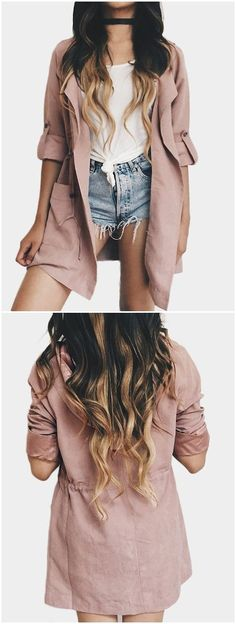 Dusty Pink Suede Lapel Colar Trench Coat US$17.99