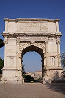 The Arch of Titus is one of two remaining arches on the Forum Romanum. The triumphal arch was built in 81-85 AD to commemorate the capture of Jerusalem over the Jewish Zealots.