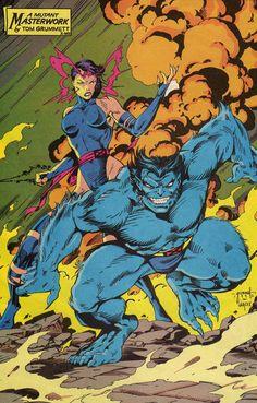 Psylocke & Beast by Tom Grummett Marvel Comic Universe, Marvel Art, Marvel Heroes, Marvel Characters, Marvel Xmen, Comic Books Art, Comic Art, Book Art, Man Beast