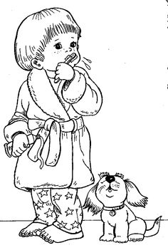 boy brushing teeth coloring pages - photo#18
