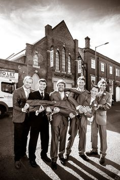George the groom and his best men outside Fazeley Studios!