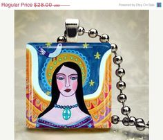 60% OFF// Guardian Angel Jewelry - Mexican Folk ARt PRimitive - Glass Tile Necklace Pendant - Memorial Gift