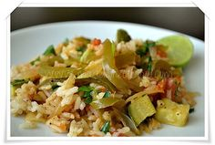 Vegetarian Paella Vegetarian Paella, Vegetarian Recipes, Paella Recipe, Summer Squash, Pasta Salad, Vegetables, Ethnic Recipes, Food, Zucchini