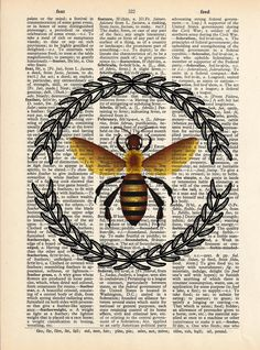 Bee illustration with olive branch wreath printed onto a page from a vintage dictionary. Unique Decor for any room of your home.