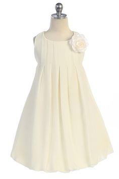Off White Elegant Chiffon Sleeveless Bubbled Hem Short Flower Girl Dress A3329-OW A3329-OW $38.95 on www.GirlsDressLine.Com