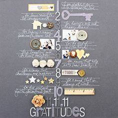 Scrapbook page. I just love this page design. Great idea to scrapbook things you are grateful for (at every time of the year). Scrapbook Page Layouts, Scrapbook Paper Crafts, Scrapbook Supplies, Scrapbook Cards, Wedding Scrapbook, Scrapbook Designs, Paper Crafting, December Daily, Mini Albums