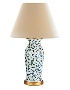 Set on a gilded pedestal, this ceramic table lamp makes a statement with its urn-shaped base and white glaze covered with semi-opaque dots in crème brulee, forest green, and Mediterranean blue. Mirror Lamp, Brass Lamp, Wood Lamps, Decoupage Lamp, Alabaster Lamp, Bunny Williams Home, Buffet Lamps, Ceramic Table Lamps, Built In Wardrobe