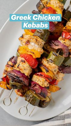 Greek Chicken Kebabs, Greek Grilled Chicken, Grilled Chicken Kabobs, Chicken Kabob Recipes, Skewer Recipes, Chicken Skewers, Summer Grilling Recipes, Healthy Grilling, Cooking Recipes