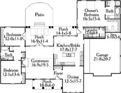 Floor Plans AFLFPW11946 - 1 Story Country Home with 3 Bedrooms, 2 Bathrooms and 1,974 total Square Feet