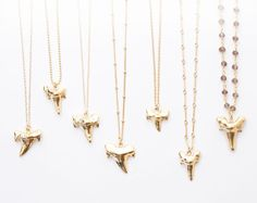 Large 24k Gold-Dipped Shark Tooth Pendant on your choice of chain! Please see last photo for the chain options. - All chains are High