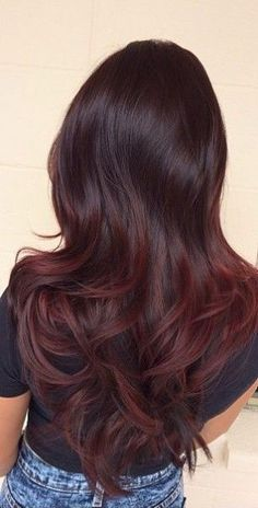 burgundy red hair color ombre style, balayage, wig, highlights, brunettes - All For Hair Color Trending Gorgeous Hair Color, Cool Hair Color, Fall Hair Colour, Hair Color Tips, Hair Color Ideas For Black Hair, Fall Red Hair, Indian Hair Color, Hair Color Formulas, Hair Tips