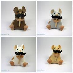 Little Movember Mouse with Moustache Ornament Sculpture     DIY inspiration