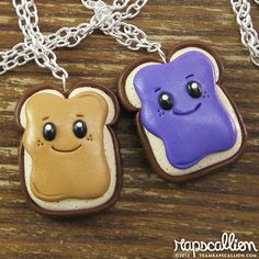 BFF Peanut Butter & Jelly Best Friends Necklace Set ❤ liked on Polyvore