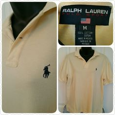 "Ralph Lauren Polo Sport, size MED Size MEDIUM yellow polo (logo is navy) with collar.  100% cotton & super soft.  20"" shoulder to shoulder.  24"" shoulder to hem.  22"" across at bottom.  Worn once, excellent condition. Ralph Lauren Shirts Polos"