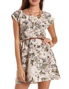 Belted Bar Back A-Line Dress: Charlotte Russe