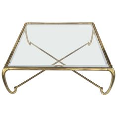 Brass and Glass Cocktail Table by Bill Doezema for Mastercraft ca.1970's