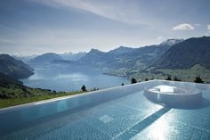 The most beautiful hotel swimming pools in the world, from infinity pools with staggering views to private plunge pools hidden from sight Hotel Villa Honegg Switzerland, Switzerland Hotels, Switzerland Vacation, Lucerne Switzerland, Switzerland Tourism, Visit Switzerland, Hotel Swimming Pool, Hotel Pool, Ubud Bali