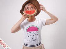 "Print-T-Shirt "" Melone Love"" Flock, Weiß"
