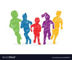 Group of children running graphic vector image on VectorStock Owl Vector, Fish Vector, Vector Art, Cartoon Faces, Cartoon Kids, Running Cartoon, Children Holding Hands, Animal Graphic, Pranks