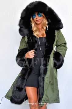 Hooded Faux Fur Trim Parka Coat GREEN: Jackets & Coats | ZAFUL