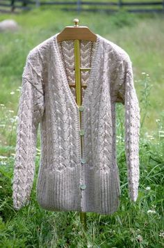 Hand Knit Baby Alpaca Lace and Rib Cardigan