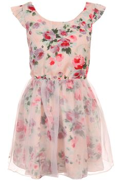 Ink Painting Floral Puff Dress #Romwe